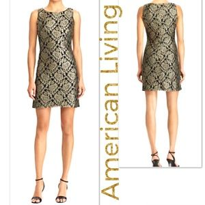 Gold Black Dress American Living Glam Metallic